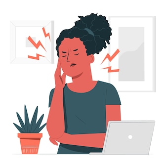 Ilustración del concepto de dolor de cabeza