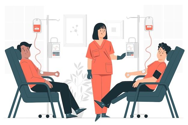 Ilustración del concepto de donación de sangre