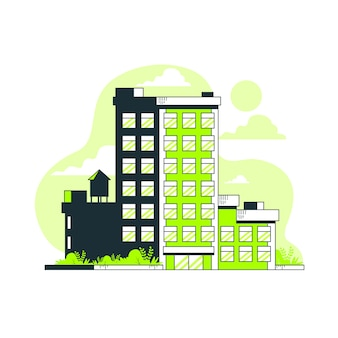 Ilustración de concepto de edifcio