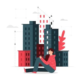 Ilustración del concepto de edificios