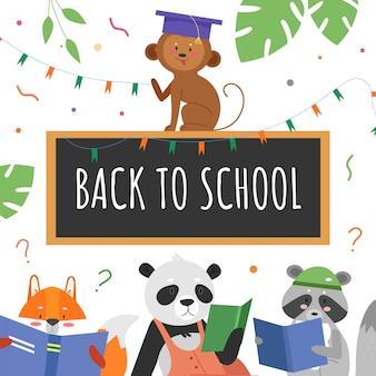 Ilustración del concepto de educación animal. personajes de dibujos animados de estudiantes animales estudian y leen libros, texto de regreso a la escuela escrito con tiza en la pizarra del aula, antecedentes educativos