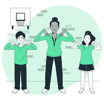 Ilustración del concepto de educación física
