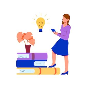 Ilustración de concepto de educación en línea con mujer sosteniendo libros para teléfonos inteligentes y bombilla plana