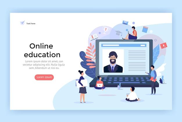 Ilustración del concepto de educación en línea