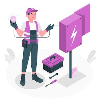 Ilustración del concepto de electricista