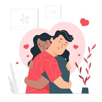 Ilustración de concepto enamorados