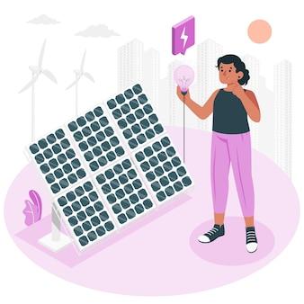 Ilustración del concepto de energía solar