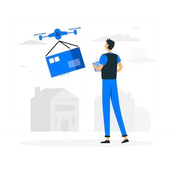 Ilustración del concepto de entrega con dron