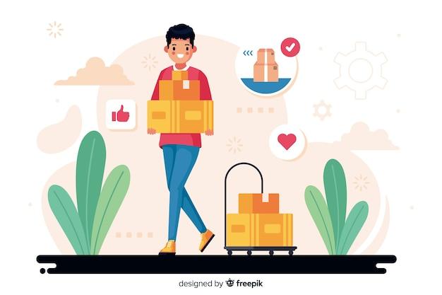 Ilustración del concepto de entrega