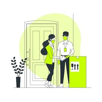 Ilustración del concepto de entregas de prevención de coronavirus