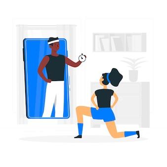 Ilustración del concepto de entrenador personal online