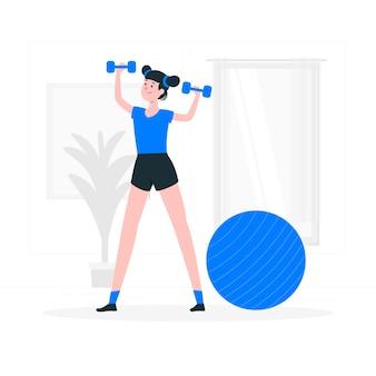 Ilustración del concepto de entrenar en casa