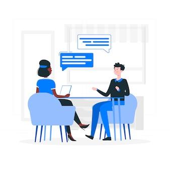 Ilustración del concepto de entrevista