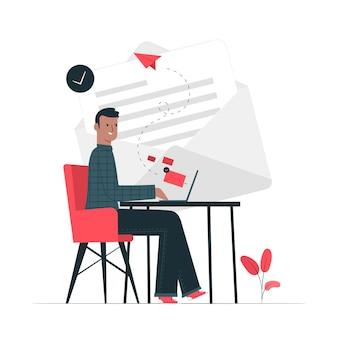 Ilustración del concepto de enviar un mail
