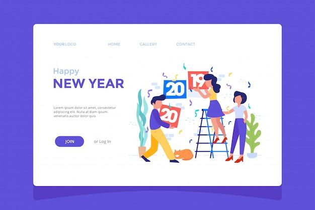 Ilustración de concepto de equipo celebrando feliz año nuevo