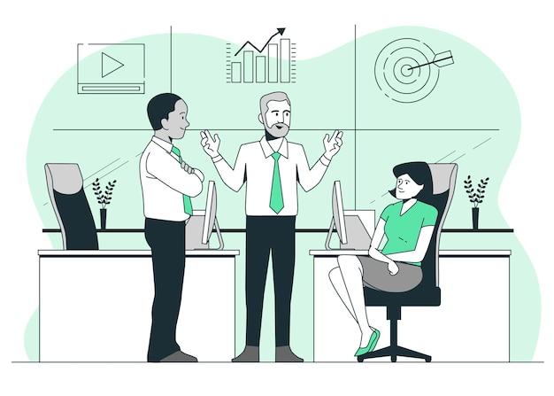 Ilustración del concepto de equipo de contenido