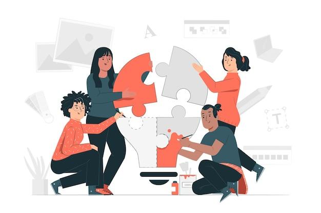 Ilustración del concepto de equipo creativo