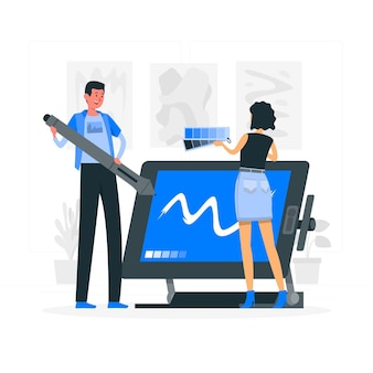 Ilustración del concepto de equipo de diseño