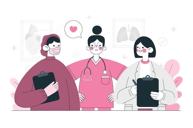 Ilustración de concepto de equipo profesional de salud
