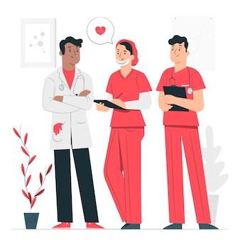 Ilustración del concepto de equipo profesional de sanidad