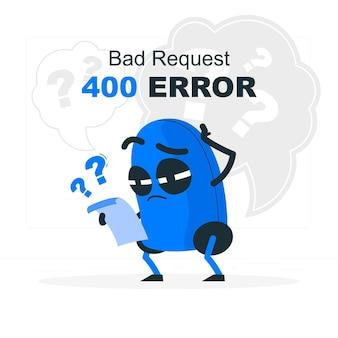 Ilustración del concepto de error 400 solicitud incorrecta