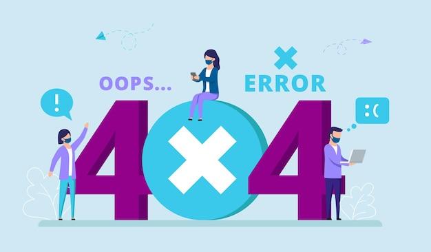 Ilustración del concepto de error 404 con personajes masculinos y femeninos. grupo de personas con máscaras interactuando con gran cartel.