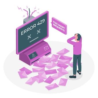 Ilustración del concepto de error 429