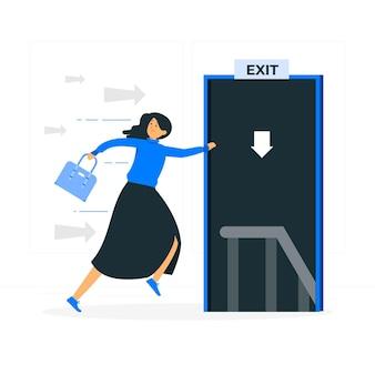 Ilustración del concepto de escape