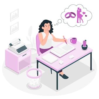 Ilustración de concepto de escritura novelista