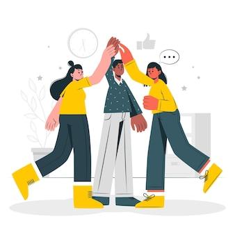 Ilustración del concepto de espíritu de equipo