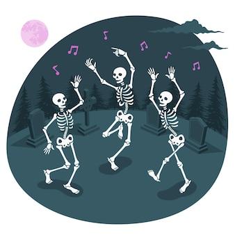 Ilustración de concepto de esqueletos bailando