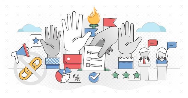 Ilustración del concepto de esquema de democracia