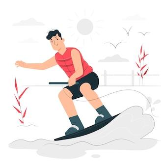 Ilustración del concepto de esquí acuático