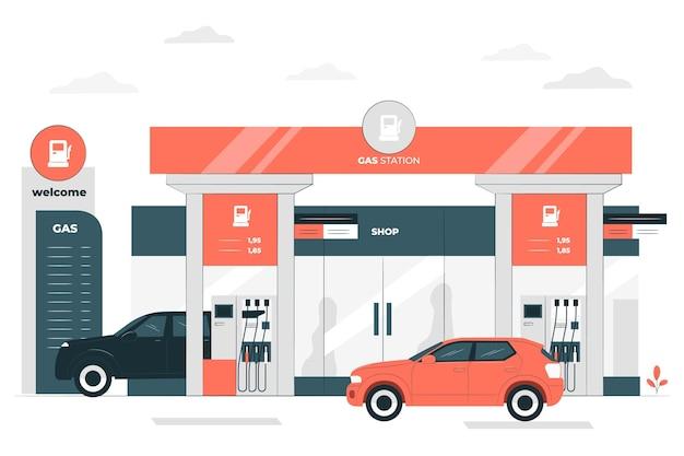 Ilustración de concepto de estación de combustible