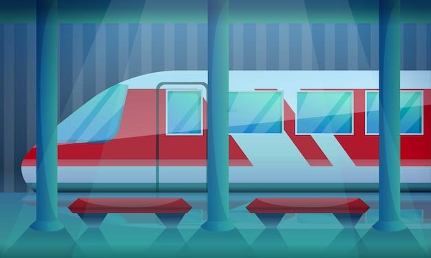 Ilustración de concepto de estación de ferrocarril, estilo de dibujos animados