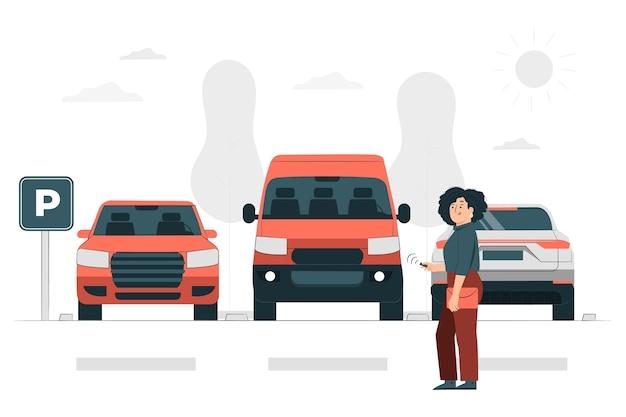 Ilustración del concepto de estacionamiento