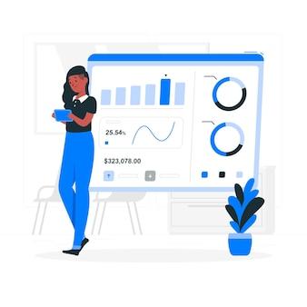 Ilustración de concepto de estadísticas de diseño