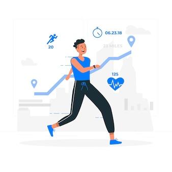 Ilustración de concepto de estadísticas de fitness