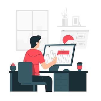 Ilustración del concepto de estadísticas del navegador