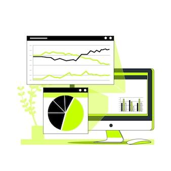Ilustración de concepto de estadísticas del navegador
