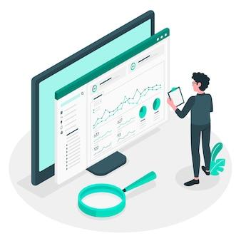 Ilustración del concepto de estadísticas del sitio