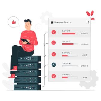Ilustración del concepto de estado del servidor