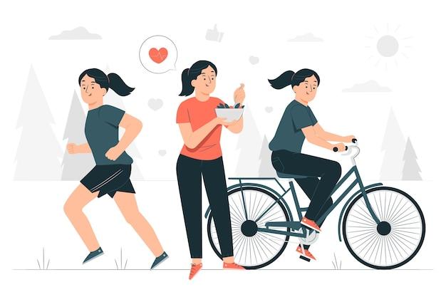 Ilustración de concepto de estilo de vida saludable