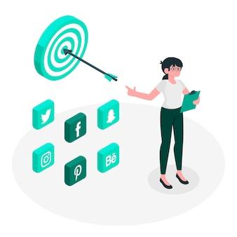 Ilustración de concepto de estrategia de redes sociales