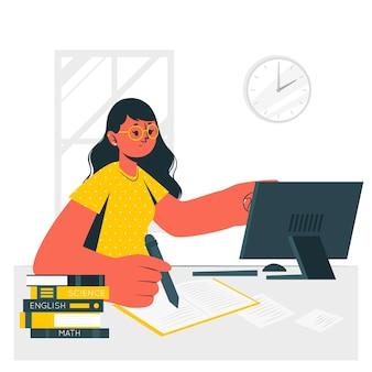 Ilustración del concepto de estudiar