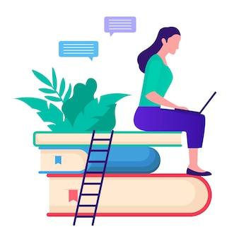 Ilustración de concepto de estudio de aprendizaje en línea