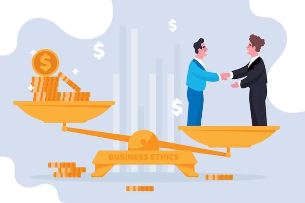 Ilustración del concepto de ética empresarial con empresarios y equilibrio
