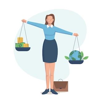 Ilustración del concepto de ética empresarial con mujer y equilibrio