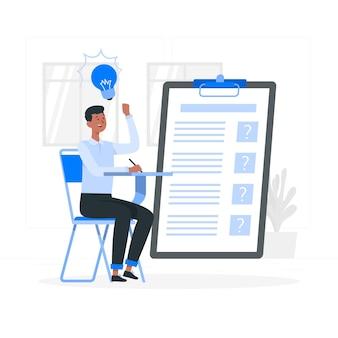 Ilustración del concepto de exámenes