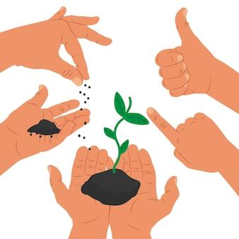 Ilustración del concepto de éxito con manos y plantas crecen